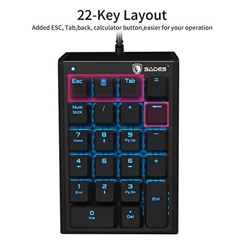 (Blue switches) USB Numeric Keypad,SADES Mechanical USB Wired Numeric Keypad 22 Key Numpad with LED Backlit- Black