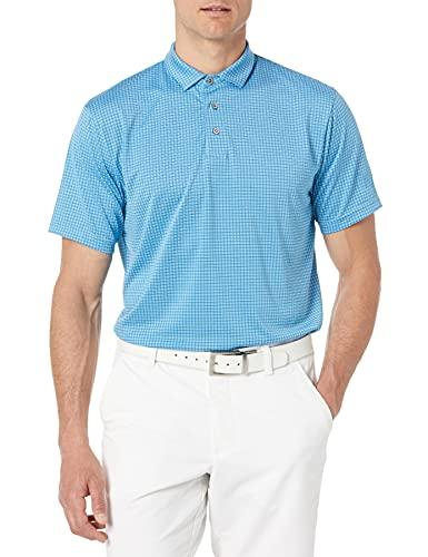 PGA TOUR Herren Mini Windowpane Short Sleeve Golf Polo Shirt Golfhemd, Blau, Mittel