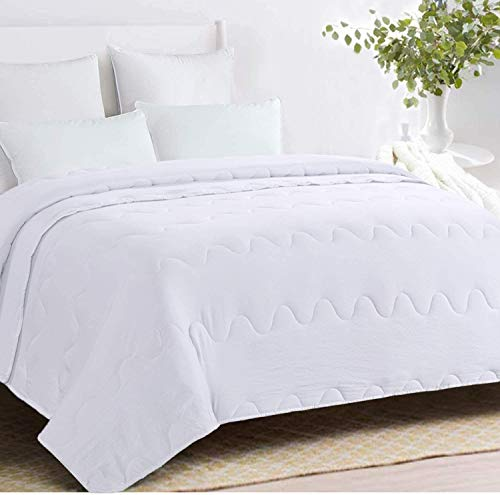 HOMBYS Lightweight Goose Down Alternative Quilted Comforter - All Season Plush Microfiber - Machine Washable Duvet Insert- Warmth Hypoallergenic Bed Comforter (Large King, White)