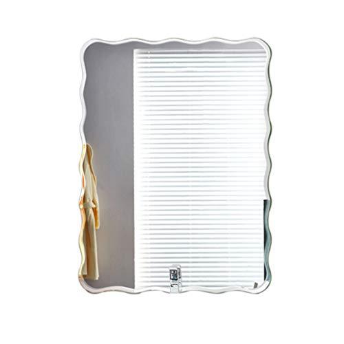 Vetrina Specchio fissato al Muro del Bagno, Specchio Creativo Senza Cornice del Bordo di Onda del Bordo di Frameless - Specchio di Parete di Vetro Decorativo Semplice (Dimensioni : 60x80cm)