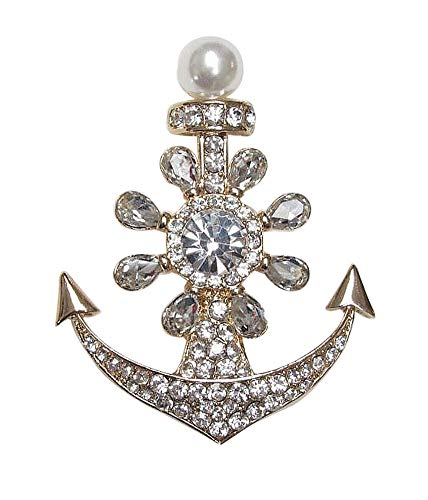 Générique Brooch Steel Gold Anchor Marine Rhinestone Crystal White