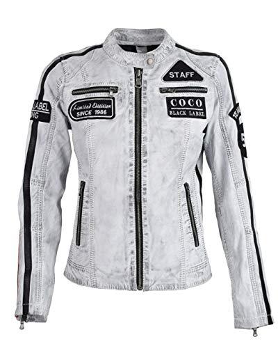 COCO BLACK LABEL since1986 Damen Lederjacke CBL Racing Boy aus Lammleder mit Pachtes und Racing Streifen, Farbe:D-Art Weiß, Größe:42