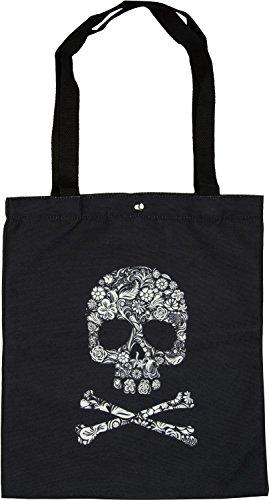styleBREAKER Stofftasche mit Totenkopf Aufdruck, Druckknopf Verschluss, Tragetasche, Einkaufstasche, Tasche, Unisex 02012194, Farbe:Schwarz