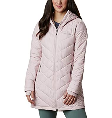 Columbia Women's Heavenly Long Hooded Jacket, Mineral Pink, 2X Plus