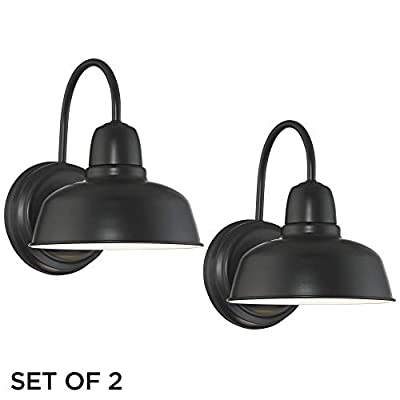 "Urban Barn Industrial Farmhouse Outdoor Wall Light Fixtures Set of 2 Black 11 1/4"" Gooseneck for Exterior House Porch Patio Deck - John Timberland"