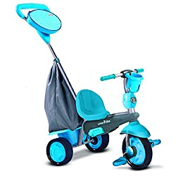 Stage 1: At 10 months baby safely uses foot rest and has a padded high-back support. Stage 2: At 18 months the seat converts while parents push and control the trike. Stage 3: At 24 months it becomes a training trike - kids learn to pedal. Stage 4: A...