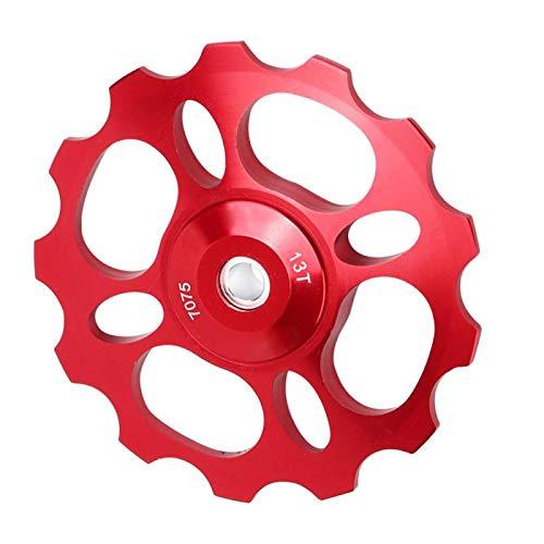 Qqmora Rueda guía de rodamiento de cerámica Duradera para Bicicleta Polea de Cambio Trasero para Bicicleta de montaña Mano de Obra Exquisita Robusta para Montar en senderos para(Red, 13T)