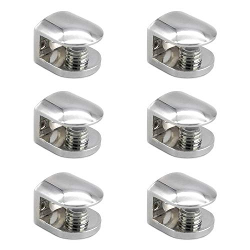 Mila-Amaz 6 Piezas Sólido Abrazadera de Vidrio Ajustable Soporte para Estantes de Cristal para Vidrio de 6-10 mm de Espesor