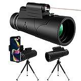 KNMY Telescopio Monocular HD 12x50 Visión Nocturna, Luz de Antorcha Roja, Impermeable con Soporte para Teléfono, Trípode, Brújula para Teléfono Móvil, Observación de Aves, Acampada, Caza, Senderismo