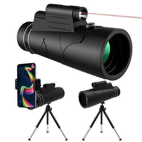 KNMY 12x50 HD Monokular Teleskop mit Nachtsicht LED Red Torch Light, Wasserdichtes Monokular mit Telefonhalter Stativkompass für Handy Vogelbeobachtung Camping Jagd Wandern Sightseeing
