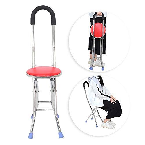 Taburete plegable con muletas de acero inoxidable con cuatro patas taburete plegable con soporte bastón de caminar para personas mayores, viaje al aire libre, taburete de descanso, silla plegable