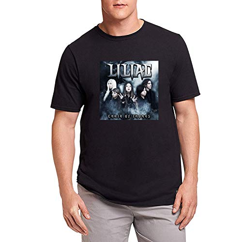 HAOKUII Hombre Black Camiseta T-Shirt Liliac Chain of Thorns Tops Short Sleeve Camiseta T-Shirt