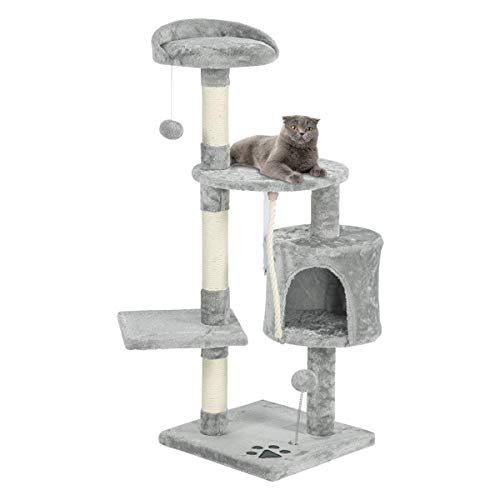 Mellcom 44' Multi-Level Cat Tree Tower Condo with Cat Scratching Post Hideaway House and...