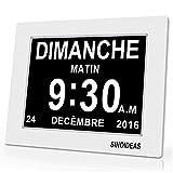 SINOIDEAS 8' Pouce LCD Horloge Numérique Calendrier avec Date Jour Et Heure Horloge...
