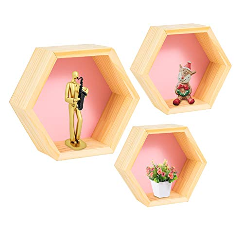 Floating Shelves Wall Mounted Set of 3, Geometric Hexagon Shaped Storage Shelves Home Decor for Bedroom, Hallway, Office, Living Room, Kitchen (Pink)