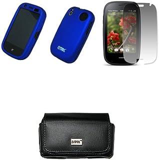 EMPIRE Svart läderväska med bältesklämma och bältesöglor + blå gummerat snap-on fodral + skärmskydd för Palm Pre 2