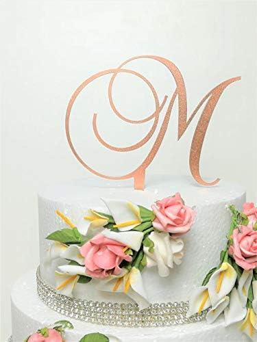 Rose Gold Letter M Shimmer Monogram Acrylic Letter Cake Topper product image
