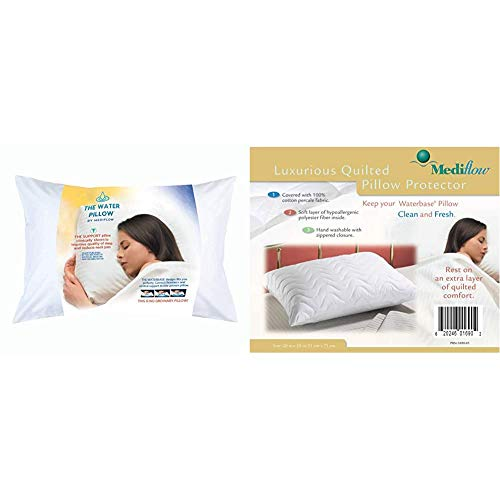 Mediflow First & Original Water Pillow, White & Quilted Pillow Protector: Get Zippered Protection...