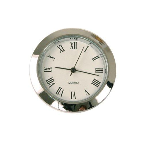 Paylak Mini Clock Quartz Movement Insert Round 1 7/16' Silver Tone Roman Numerals