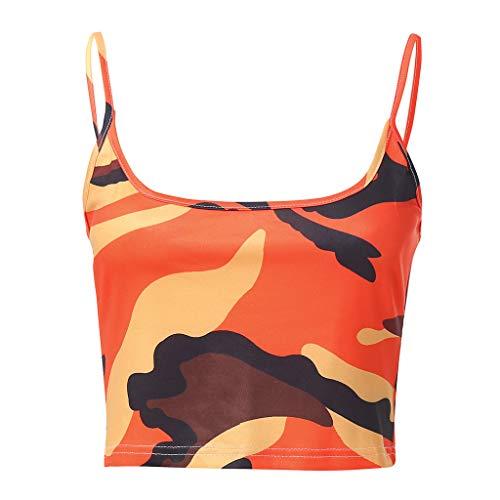Momoxi Damen Sommer Tarnung Sleeveless Trägershirt Büstenhalter Weste Ernte Spitzenblusen T-Shirt Camouflage Tank Top Bustier Bra Vest Blouse T-Shirt Orange S