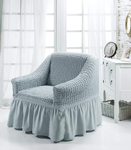 My Palace Aurora Sesselschoner 1 Sitzer Stretch und antirutsch Sesselhusse Fernsehsessel Bezug elastischer Sesselüberwurf mit Schaumstoffankern, 70-120cm Grau