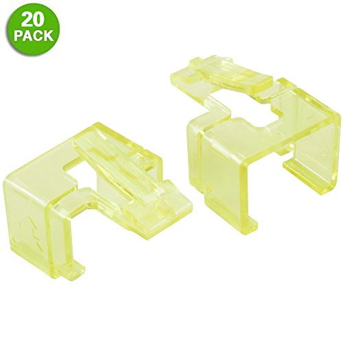 20 Pack Plug SOS Clips in Yellow, for RJ45 Connector Fix/Repair and Color Coding/Management, NO Crimp Tool Needed