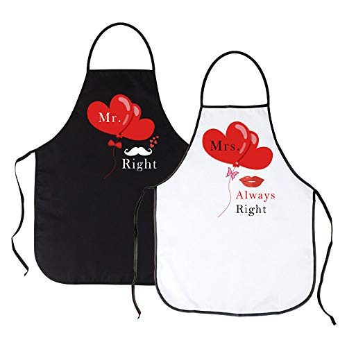 ICYANG Mr. and Mrs. Aprons, His and Hers Couple Matching Wedding Gifts, Cute Funny Kitchen Cooking Bibs for Bridal Shower, Engagement, Anniversary, Newlyweds, Set of 2