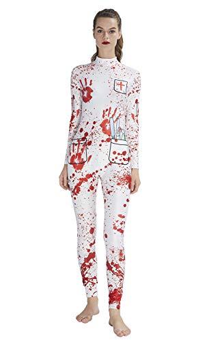 Idgreatim Women Halloween Catsuit 3D Graphic Cosplay Costume Zipper Back Long Sleeve Skeleton Print One-Piece Catsuit for Halloween Black L