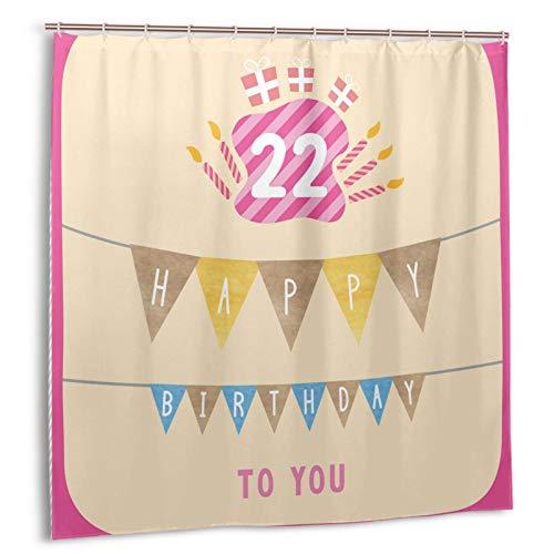 GUVICINIR Duschvorhang,Geburtstags-Süßigkeiten-Kuchen-Kerzen-Druck,Vorhang Waschbar Langhaltig Hochwertig Bad Vorhang Polyester Stoff Wasserdichtes Design,mit Haken 180x180cm