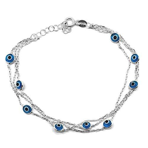 MYSTIC JEWELS by Dalia - 19cm Pulsera de Plata Mal de Ojo en Cadena Triple con ojitos pequeñitos - para Buena Suerte (Azul Claro)