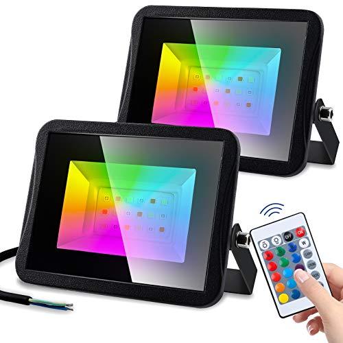 Hengda Foco RGB de 2 unidades, 20 W, cambio de color regulable, foco exterior, con mando a distancia, 16 colores, 4 modos, IP67 resistente al agua, foco LED para Navidad, jardín, fiesta, árbol