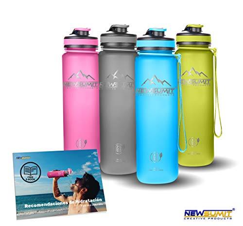 NEWSUMIT Botella De Agua Deportiva Superior Shaker - BPA Free Tritan - Todo Uso - Deporte - Gimnasio - Hogar - Oficina. (Azul, 1000ml - 34oz)