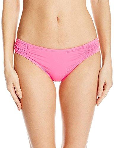 COCO RAVE Junior's Shirred Bikini Ruffle Bottom Swimsuit, Bright Pink, X-Small