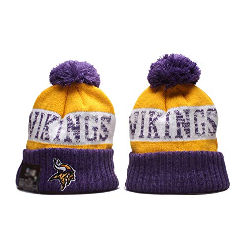 2020 Vikings Wool Hat Hat Rugby Chiefs Equipo Logo Americano Fútbol Lana Hat Soft Stretch Cable Knit Beanie Cap Cálido Purple-OneSize