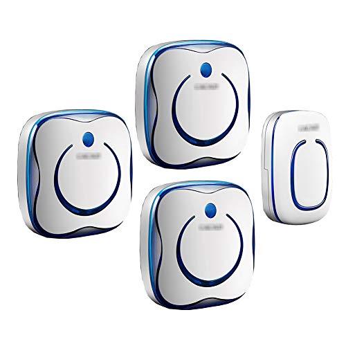 Draadloze plug-in deurbel met muurplug, intelligente mini-deurbel met 1 knop en 3 ontvangers Waterdichte deurbelkit 36 muziek en volume met 4 snelheden