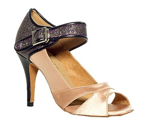 MINITOO Damen Latein Salsa Fashion Beige Satin Tanzschuhe Wedding Sandalen EU 41.5