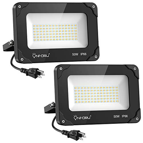 Onforu 2 Pack 50W LED Flood Light with Plug, 5000lm Super Bright LED Work Light, IP66 Waterproof Outdoor Security Lights, 6000K Daylight White Floodlight for Yard, Garden, Playground, Basketball Court