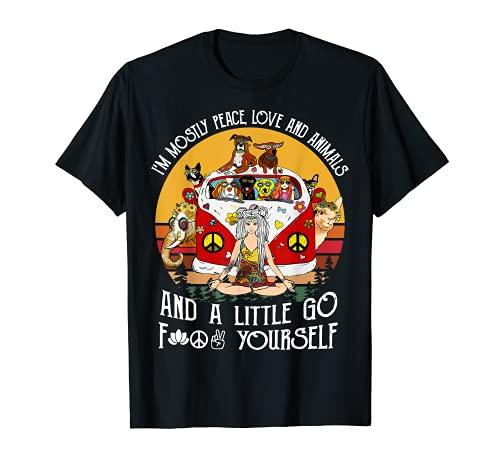 Soy Mayormente Paz Amor Y Animales Y Un Poco Ir Vintage Camiseta