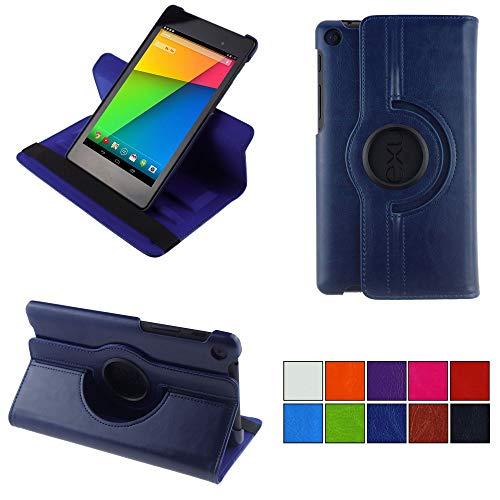 COOVY® 2.0 Cover für Google ASUS Google Nexus 7 (2. Generation Model 2013) Rotation 360° Smart Hülle Tasche Etui Hülle Schutz Ständer Auto Sleep/Wake up   dunkelblau