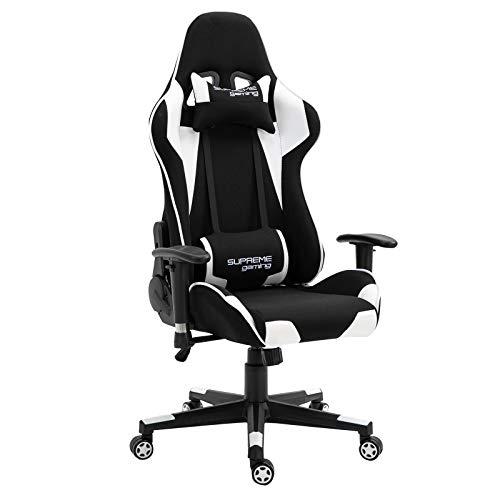CARO-Möbel Gaming Stuhl Boost in schwarz/weiß, ergonomischer Drehstuhl mit Stoffbezug, Racer Racing Bürostuhl mit verstellbaren Armlehnen