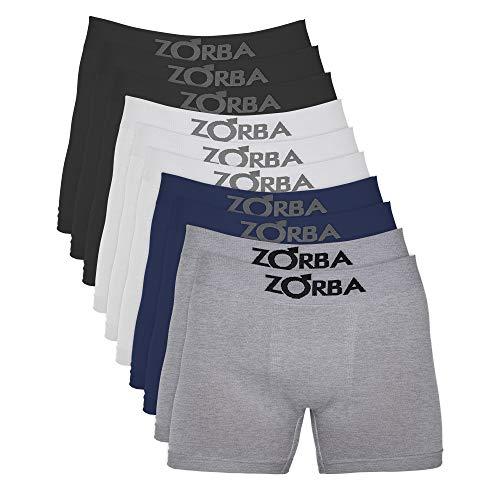 Kit com 10 Cuecas Zorba Boxer Algodão Sem Costura 781 Cores Diversas - G