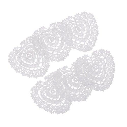 Sharplace 6Pcs 120mm Tovagliette da Tavola Tovagliette per Sottobicchieri da Cucina Centrini Amore Cuore Fatto A Mano all'Uncinetto Cotone Pizzo Ciotola di Vetr
