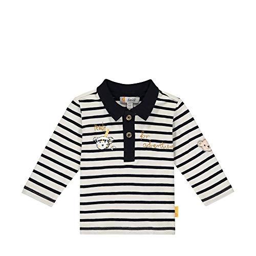 Steiff Baby-Jungen mit süßer Teddybärapplikation Poloshirt Langarm, Cloud Dancer, 086