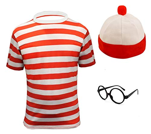 (7-8 years, Red And White Tshirt + Hat +Glasses) - Childrens Red & White striped fancy dress 3 PIECE SET (7-8 years)