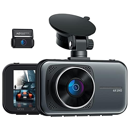 4K Dash Cam, Telecamera per auto 2160 + 1080P con Supercondensatore e Super Visione Notturna, 3 Pollici Grandangolare di 310°, G-Sensor, Registrazione in Loop, Monitor di Parcheggio, Max. 256GB