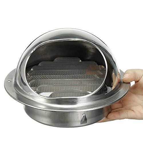 Cubiertas de rejilla de ventilación de acero inoxidable SENRISE de rejilla de ventilación de pared redonda de metal para el escape de pared externo, aire fresco, escape de campana (100 mm)