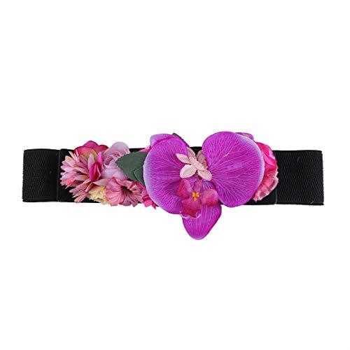 Amosfun Bloemen Bruiloft Riemen Elastische Brede Taille Riem voor Vrouw Meisjes (Zwart)
