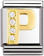 Original nomination big initial P in rhinestones and 18K gold