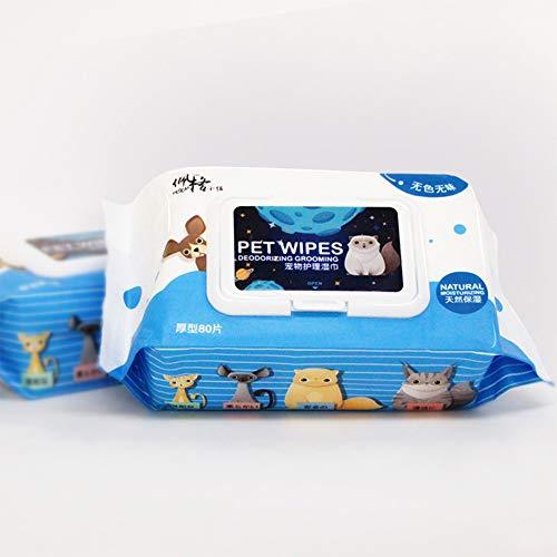 LIZHOUMIL 80 unidades de toallitas húmedas para ojos de mascotas, papel para limpieza de perros, toallas para eliminar las lágrimas de gato, suministro de 80 unidades por paquete