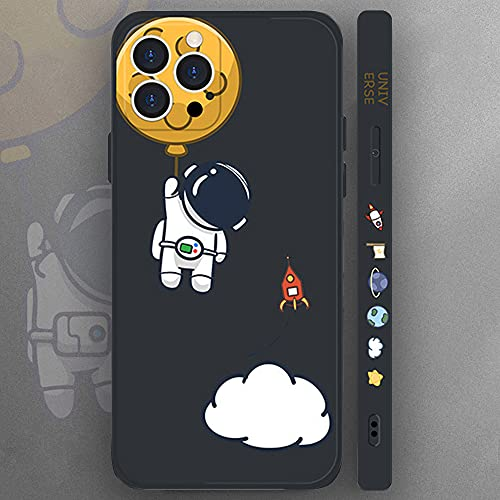 Compatible iPhone 11 Case,Cool Space Astronaut Planet,Side Cute Cartoons Creative Pattern Designed, Soft TPU Bumper Shockproof Anti-Slip Protective Cover(6.1Inch)(Black)